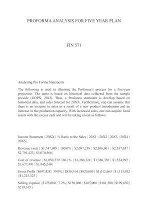fin 571 pro forma View essay - analyzing pro forma statements from fin 571 at university of  phoenix running head: analyzing pro forma statements 1 analyzing  pro.
