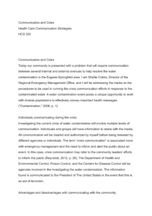 hcs 320 communication and crisis In communication processes used in crisis situations, including what you learned from the situations in the scenario and how you might incorporate that knowledge to improve health care communication strategies.