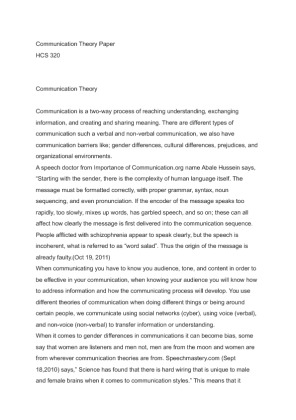 hcs 320 communication theory View essay - health care communication methods from hcs 320 at university  of phoenix 1 health care communication methods hcs 320 luis marquez 2.