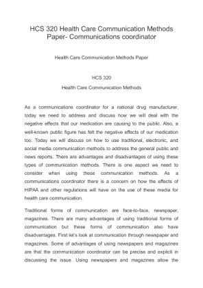health care communications paper