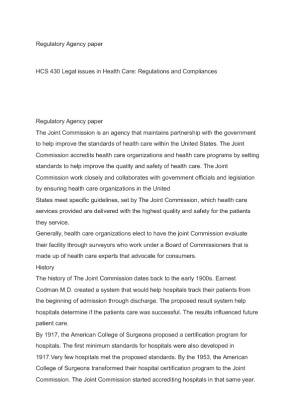 week 2 regulatory agency paper Hcs 235 week 2: healthcare utilization paper  regulatory agency paper name  hcs/430 legal issues in health care: regulations and.