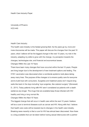 health care industry paper essay Home free essays healthcare administrator  we will write a custom essay sample on healthcare administrator  in-todays-rapidly-changing-industryhtml health .