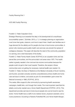 HCS 446 Week 1 Individual Facility Planning Part I