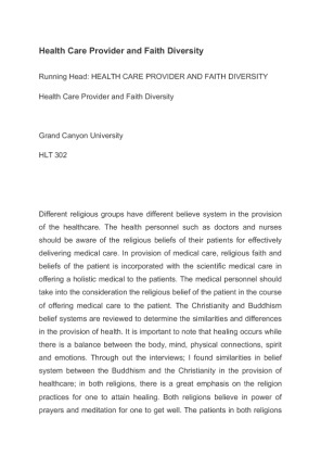 health care provider and faith diversity essay Health care provider and faith diversity essay - faith can be defined as a confidence trust in a person, a religion or a doctrine, it is viewed as hope or belief faith help us to live our lives fuller and better.