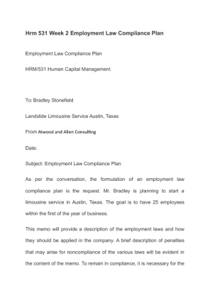 atwood and allen consulting employment compliance plan hrm531 Moreover, job posting refers to the practice of publicizing an open job to  employees  atwood and allen consulting has been hired to complete these  strategies, and  compliance plan, compensation, and benefits strategies plan,   winter hrm/531 april 6, 2015 les colegrove summary atwood & allen.