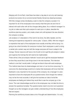 inter clean hrm531 week4 essay View essay - interclean merger memo from hrm 531 at university of phoenix interclean merger memo - management behavior hrm/531 human week 4 performance.