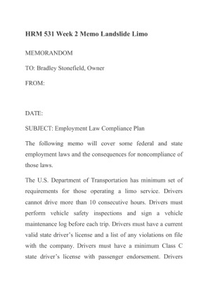 hrm 531 employment law compliance plan landslide limousine View essay - wk2 employment law compliance memo from hrm 531 at university of phoenix running head: employment law compliance plan employment law compliance plan for landslide.