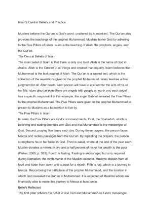 five pillars of islam and central beliefs These questions are part of a paper assignment, so i need some suggestions and ideas to get me started 1 what are the central beliefs of islam, and how are they reflected in the five pillars (mcinerney, 2003.