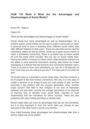 social media paper hum 176 Hum 176 week 4 individual assignment social media assignment  hum 176 week 6 individual assignment influence of visual media paper hum 176 week 7 individual.