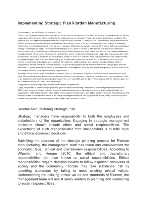 riordan manufacturing strategic plan essay Check out our top free essays on riordan strategic to help you production plan for riordan manufacturing production plan for riordan manufacturing.