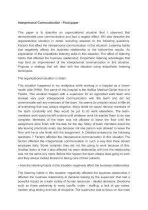 how to write a strong personal essay on interpersonal communication the test phone call could not listen to the topics of the meeting and service the call at the same time interpersonal communication essay writing