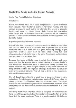 differentiating between market structures in kudler Kudler fine foods marketing system analysis kudler fine foods marketing objectives introduction kudler fine foods has a lot of ideas and processes in place.