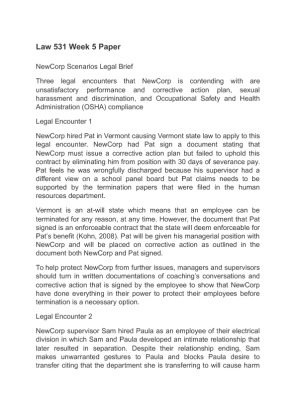 newcorp legal scenarios Team b newcorp legal scenarios kimberly collins, rebecca durham, marhonda evans, andrew gerber, and jenny ryan law 531.