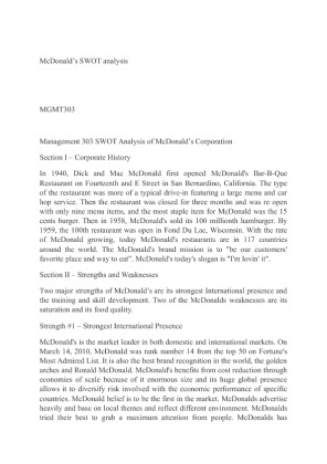 Analysis of mcdonalds leadership style | Term paper Example
