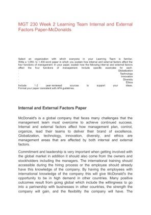 external internal factors paper Research paper internal and external business environment of two and 90,000+ more term papers written by professionals and your peers  internal factors, .
