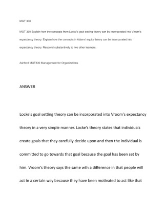lockes goal setting theory Mgt 330 mgt 330 explain how the concepts from locke's goal setting theory can be incorporated into vroom's expectancy theory explain how the concepts in.