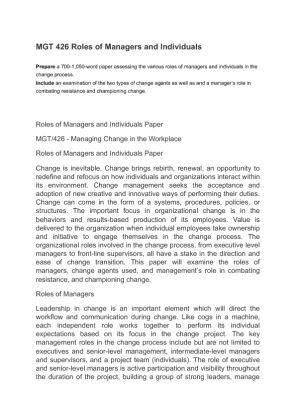 roles of mangers and individuals Recommendations for the first time manager making the transition from successful individual contributor to manager includes the manager's role is also.