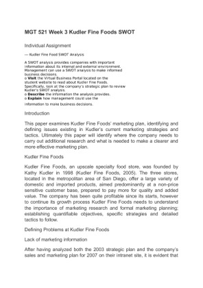 54 Kudler Fin Essays, Term Papers and Book Reports