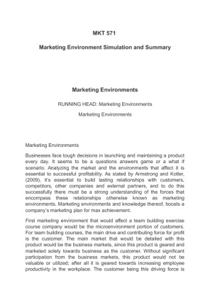 the marking environment simulation Mkt 571 marketing environment simulation and summary marketing environments running head: marketing environments marketing environments marketing.
