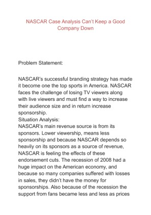 nascar case study Dupont-nascar marketing case solution, 1992 joe jackson, former manager of dupont motorsports for twelve years, angling to the color of.