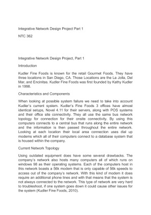 ntc 362 indp part 2 Ntc 362 week 4 individual assignment indp part 3 review the assignment instructions in the university of phoenix material: integrative network design project write a 3- to 5-page paper thatincludes the following based on.