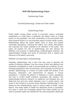 epidemiology paper Epidemiology: who health topic page on epidemiology provides links to descriptions of activities, reports, publications, statistics, news, multimedia and events, as well as contacts and cooperating partners in the various who programmes and offices working on.