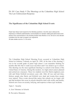 Columbine Case Study Research Paper - 319 Words