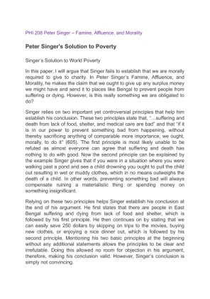 famine affluence and morality by peter singer thesis Free peter singer famine affluence and morality papers, essays, and research papers.
