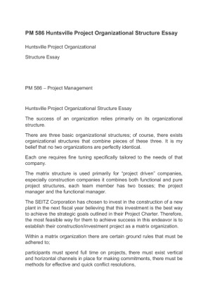 project management organizational structures paper View notes - project management organizational structures paper week 2 borrador from buiness 102 at university of phoenix project management organizational.