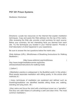 psy 201 meditation worksheet Psy 201 week 2 assignment meditation worksheet click following link to purchase.