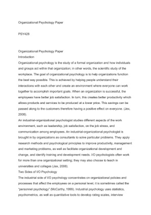 organizational psychology paper psy 428 View essay - wk 1 industrial organizational paperedited (1) from psy 305 at  university  to industrial/organizational psychology contributions  to.