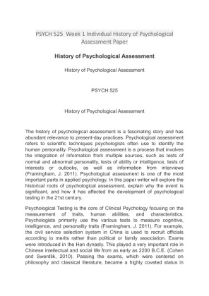 the history of psychological assessment This article uses empirical evidence to analyse cultural bias in psychological testing and explores various approaches that described and examine bias in psychological assessment to illuminate these concerns and possibilities in a concrete context, the article analyse the history of psychological assessment and explains.