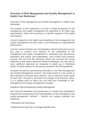 overview of risk management and quality management in health care worksheet University of phoenix material overview of risk management and quality management in health care worksheet the purpose of this assignment is to gain a broad.