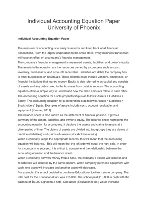 acc300 accounting equation Acc 300 week 2 accounting equation paper  include how the accounting  equation relates to the components of the balance sheet, provide examples that.
