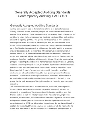 generally accepted auditing standards three categories The three aicpa generally accepted standards classified as standards of fieldwork may be summarized as: a the need to maintain an independence in mental attitude throughout the audit.