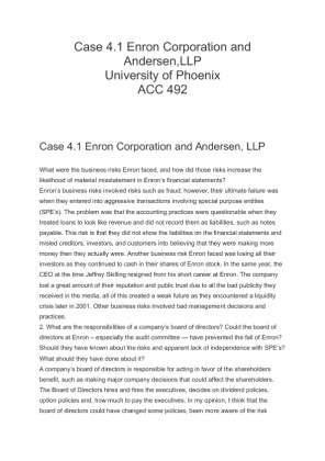 what were the business risks enron faced Week 2 assignment case 41 enron corporation and andersen, llp q1) what  were the business risks enron faced, and how did those risks increase the.