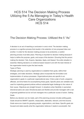 hcs 514 decision making case study