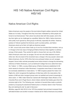 his 145 native american civil rights Native american civil rights his/145 native american civil rights native  americans were the people of the land before english settlers.