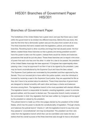 His 301 branches of government paper