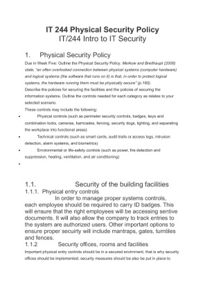 it 244 appendix e physical security policy paper Provides baseline physical security requirements to the policy on government security and appendix c of the or acts of physical violence (e.
