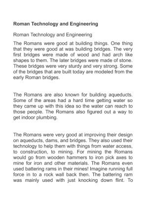 Roman technology and engineering essay