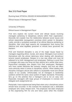 ethical issues in management research paper