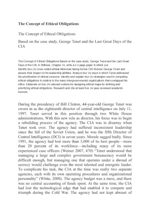 george tenet the last great Student name professor name course title day month year george tenet and the last great days of the cia summary of the excerpt richard white has written a most.