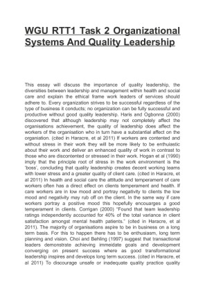 "organizational systems and quality leadership 3 essay Organizational systems and quality leadership western governors university nursing-sensitive indicators are defined by the american nurses association as indicators that ""reflect the."