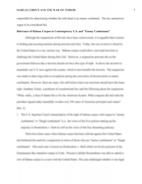 pol 201 final paper civil liberties habeas corpus and the war on terror James madison (march 16, 1751 – june 28, 1836), an american statesman, political theorist, party leader and fourth president of the united states of.