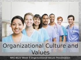 nrs 451v organizational culture and values presentation Nrs 451v gc week 4 organizational values presentation  not including title or reference slide) on organizational culture and values.