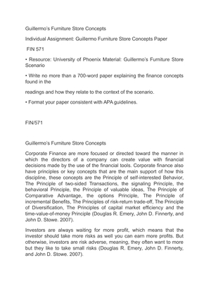 gulliermo furniture store scenario essay This document contains fin 571 week 4 guillermo furniture store analysis resource: the guillermo furniture store scenario or your own organization, with the approval.