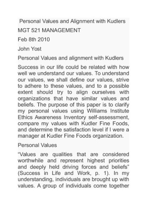 kudler fine foods' values and the