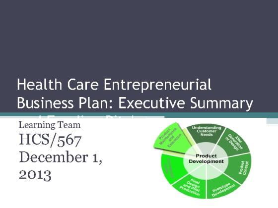 Hcs  Health Care Entrepreneurial Business Plan