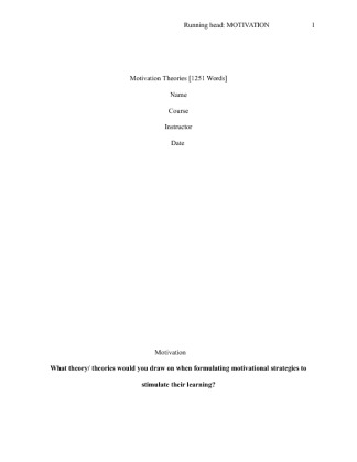 essay question on motivation